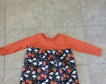 Girls' 3T/4T black and orange Halloween dress with ghosts, pumpkinks and bats