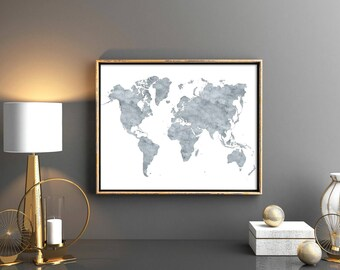 World map grey world map with countries printable watercolor world map grey world map with countries 16x20 printable watercolor maps map of the world world map watercolor world map printable map gumiabroncs Choice Image