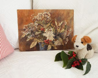 Original painting Antique floral painting Elderflowers and holly painting Vintage floral painting Realism floral painting Gouache painting
