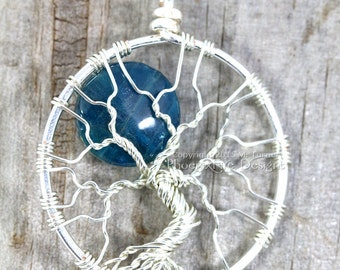 Full Moon Tree of Life Pendant Blue Apatite Blue Moon Natural Gemstone Necklace Artisan Wire Wrapped Silver Jewelry Phoenix Fire Designs