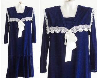 Dark blue velvet drop waist dress with bib collar