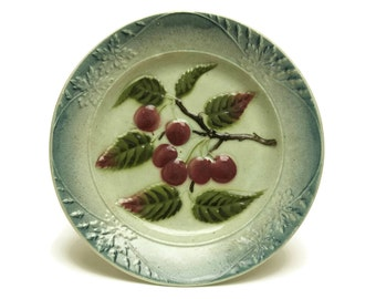 Antique French Majolica Fruit Plate with Cherries. Country Kitchen Wall Plate.