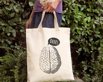 Brain needs books library tote bag-Anatomical brain tote bag-science tote-personalized tote-shopping bag-library tote-NATURA PICTA NPTB073