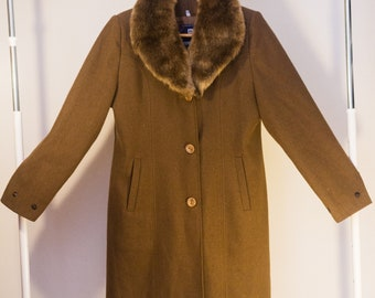 Vintage Brown Coat with Fur Collar made in Damascus, Syria