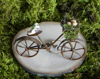 Fairy Garden accessories  bike bicycle for terrarium or miniature garden with bird and polymer clay eggs