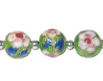 12mm Apple Green Round Cloisonne Bead, 4 beads