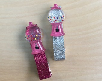 Gumball Machine Pink Silver Glitter Baby Hair Barrette Toddler Accessory Set Candy Sugar Gum Hair Clip