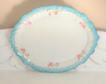 Vintage Bavaria Porcelain Dresser Tray  Blue White Pink Roses