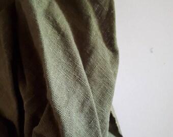 LINEN FABRIC / olive green / heavy weight linen
