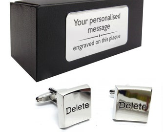 IT Computer delete keyboard button novelty CUFFLINKS gift, presentation box personalised ENGRAVED plate - 099