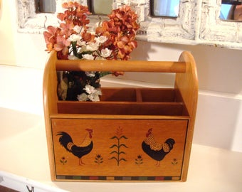 Silverware caddy, wood caddy, silverware holder, utensil holder, napkin holder, picnic caddy, rustic decor, rooster decor, kitchen decor