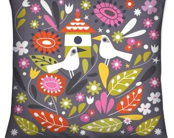 Tweet Tweet Printed Velvet Cushion Cover