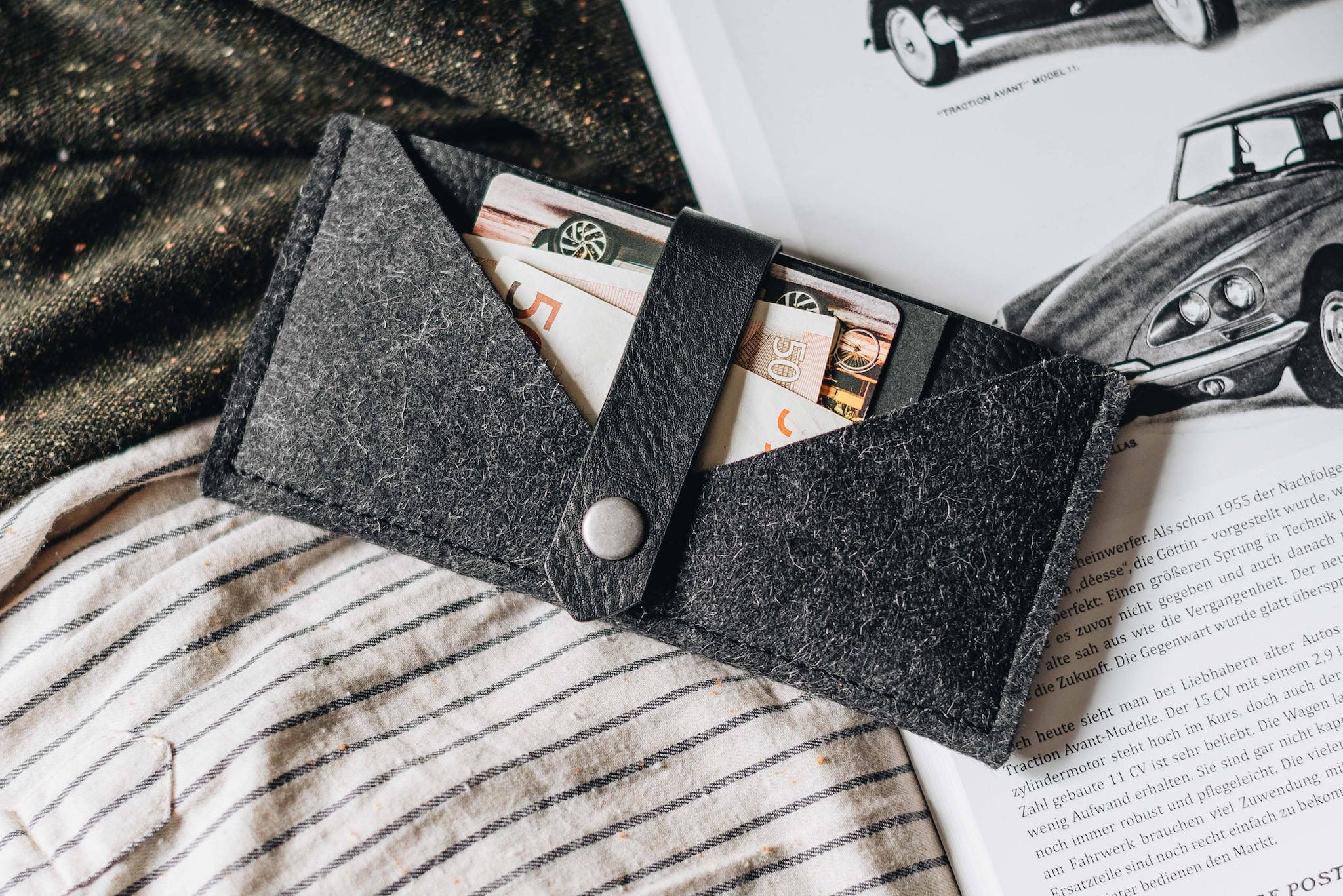 Case for iPhone X iPhone X Wallet leather wool felt tan