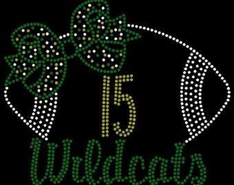 PERSONALIZE Football Bow Custom Team Name/Number Personalized Rhinestone iron on transfer