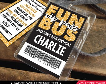 Fun Bus VIP I.D. Badge Invitation - Party Bus Invite, Party Favor,Teen ID Badge,Tween Badge Gold   Instant Download D.I.Y. Printable PDF Kit