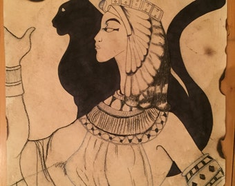Cat Goddess - Spiritual - Goddess - Egypt - Drawing - Ink - Paper - Cat
