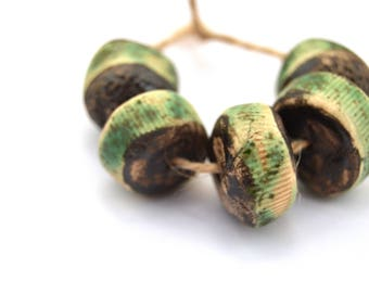 5 Disk Beads, Handmade Ceramic Beads, Matte Beads, Brown / Green Beads, Rustic Beads, Artisan Beads, Jewelry Supplies