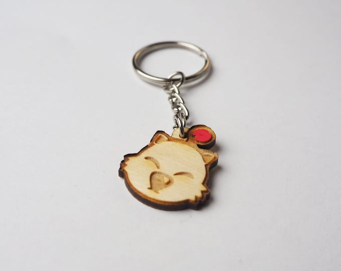 Moogle Face Keychain | Laser Cut Jewelry | Wood Accessories | Wood Keychain
