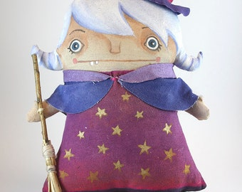 Cute Magic Witch Rag Doll - Handmade, Handpainted, Cotton Fabric, Acrylic, Perfect for Decoration, Customizable & Perfect for a Lovely Gift