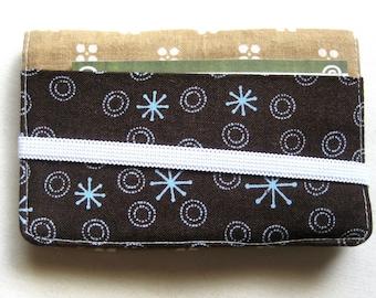 Business Card Holder Mini Wallet- Bifold Inside Outside Wallet in Brown Tan Kakhi Fabric