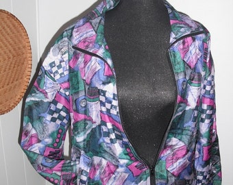 Vintage Silk  Abstract art Bomber Windbreaker Jacket ~  New Wave 80s Indie Woman's Medium M