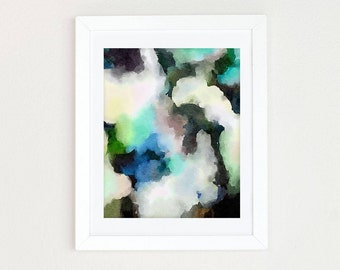 Blue Abstract Watercolor Painting, Black and White Abstract Painting, Modern Minimalist Wall Art, Blue Abstract Print, Watercolor Art Print,