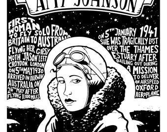 Amy Johnson A3 print