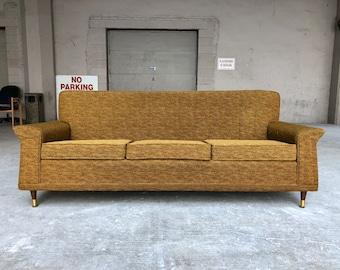 Mid Century Modern Retro Gold Atomic Winged Tufted Three Seat Sofa By  Mastercraft Danish Style
