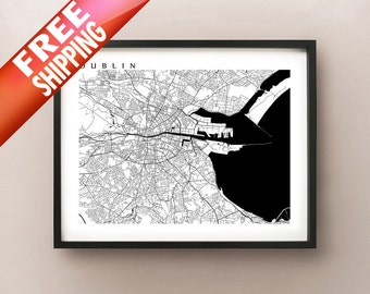 Dublin Map - Black and White Wall Art - Ireland Art Poster