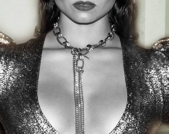 Glamour Chain Choker w. Long Cascade Pendant - Backdrop Necklace - Gift for Her - FAME DROP in Gunmetal & Silver