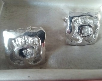 Mid Century Cufflinks , Mens Silver Cufflinks  , Mens Accessories , MCM , Gifts For Him