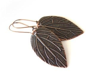 Leaves Red Copper Kidney Wire Earrings