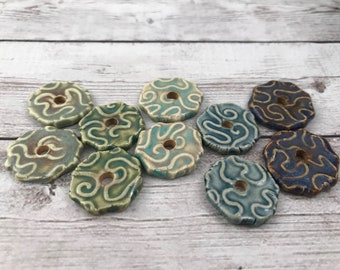 Ceramic Beads - One Pair - Brain Coral Design - Line Drawings - Earring Sized Pairs - Ready to Ship - Marsha Neal Studio - Handmade Beads