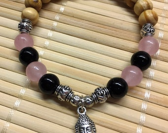 Natural Wood Black Onyx and Rose Quartz Buddha Wrist Mala Bracelet Gemstone Healing Jewelry
