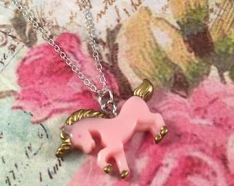 Pink Gold Resin Unicorn Pendant Necklace Children's Girls