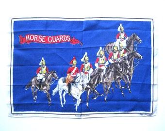 Souvenir Linen Tea Towel - Horse Guards - Old Bleach Irish Linen with Tag