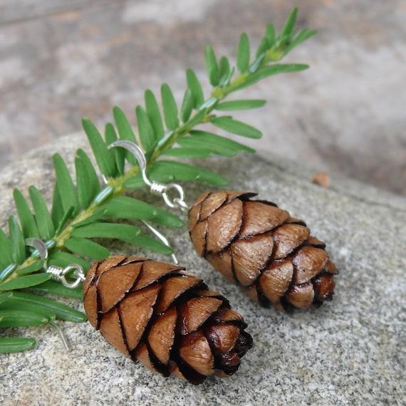 Natural earrings-Christmas earrings-Hemlock-Pine cone earrings-Sterling silver hardware -Mini Cone earrings-Nature lover earrings-Eco Gift