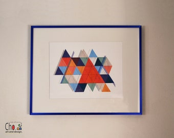Fine Art Giclee Mid-Century Modern repeating Triangles Print Art- Blues, grays, oranges, reds. modern-art print, home decor, gift,