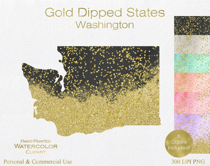WATERCOLOR & GOLD WASHINGTON Clipart Commercial Use Clipart United States Shapes Wedding Clipart Gold Confetti Dust Washington Clip Art