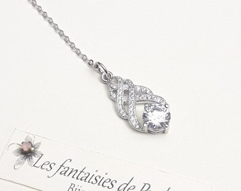 Bridal backdrop necklace crystal, CZ backdrop pendant, teardrop pendant bridal jewelry  backdrop bridal necklace, back drop bridal rose gold