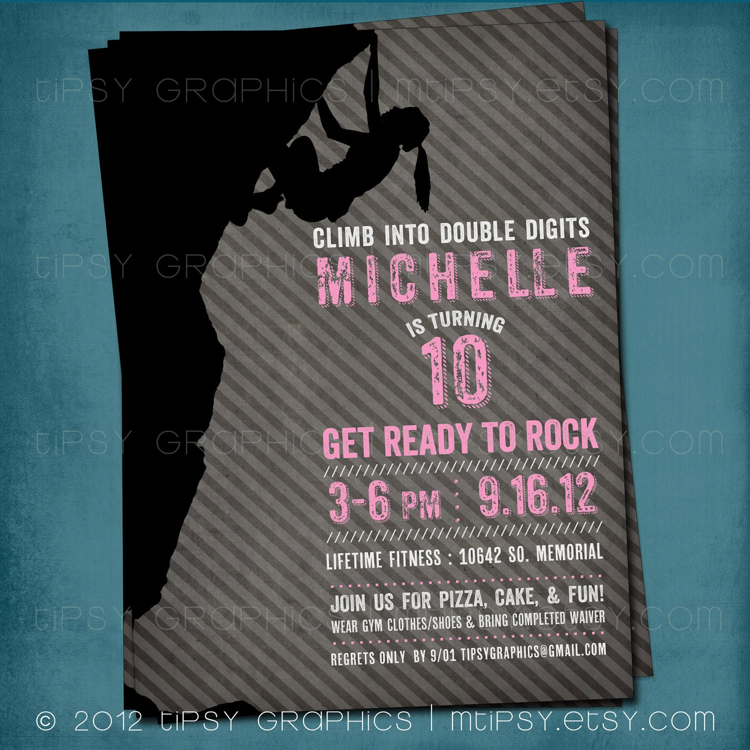 Rock Climbing Birthday Party Invite for Big Kids by Tipsy