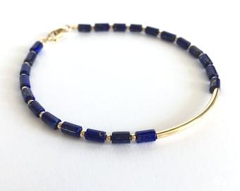 Lapis Lazuli & 14K Gold Filled Curved Tube and Beads Bracelet December Birthstone  Lapis Lazuli Jewelry Blue Gemstone Bracelet with Gift Box