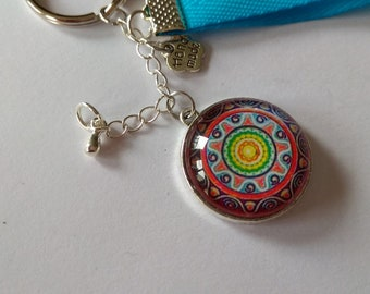 cabochon glass, multicolored mandala and tree of life Keyring