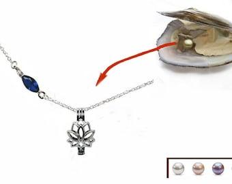 """Collier """"Fleur de lotus cage avec huître contenant 1 perle d'eau douce"""" 3 en 1"""