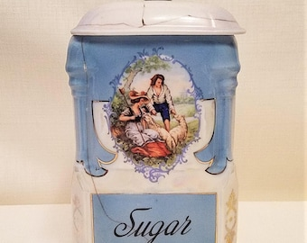 Vintage Lusterware Sugar Canister, Blue and White With Pictorial Scene by Victoria China