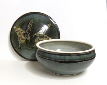 Butterfly Lidded Serving Bowl or Small Casserole by Leighton/ Earthy Wheel Thrown Studio Pottery