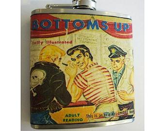 Gay pulp flask retro vintage 1950's paperback art pin up beefcake kitsch