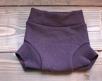 Medium Wool Diaper Cover in Deep Purple