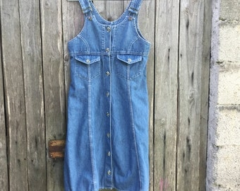 Dungarees Vintage/ 90s/ Jeans/ Skirt/ Size S-M/ denim 100% cotton/ Made in Italy
