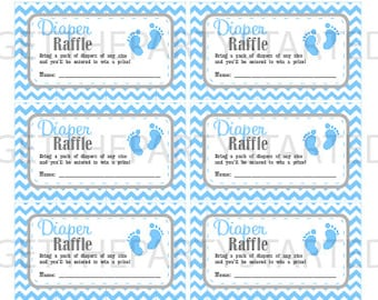 DIAPER RAFFLE TICKETS   Printable Baby Shower Raffle Tickets   Grey U0026 Blue  Baby Feet Baby